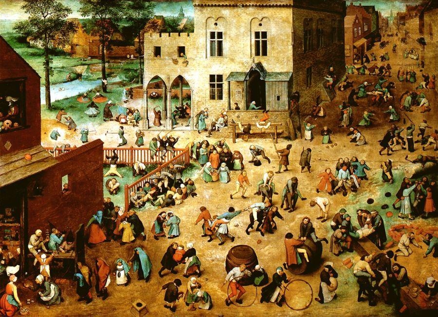 Pieter Bruegel starszy (ok. 1525–1569), Zabawy dziecięce (118 cm x 161 cm) (1560), obecnie w Muzeum Historii Sztuki w Wiedniu