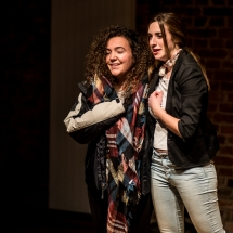 Victoria LÓPEZ BENET and Ana PEDRO VENTURA from Spain at Acting craft class, AMU-PIE, Theatre Studio AMU, January 2017. Photo Maciej Zakrzewski