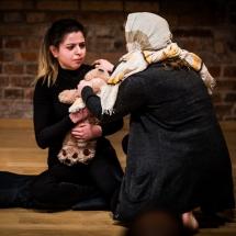 Gizem DOĞANER (Turkey) and Christina PERZL (Germany) at Acting craft class, AMU-PIE, Theatre Studio AMU, January 2017. Photo Maciej Zakrzewski