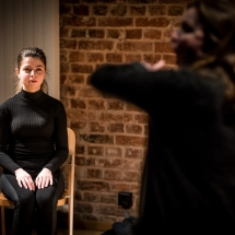 Gizem DOĞANER (Turkey) and Christina PERZL (Germany) at Acting craft class, AMU-PIE, Theatre Studio AMU, January 2017. Photo Maciej Zakrzewski