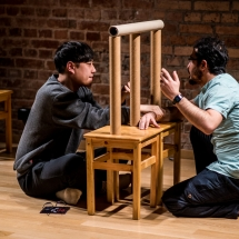 SEO Won-jin (South Korea) and Abdülsedat YILDIRIM (Turkey) at Acting craft class, AMU-PIE, Theatre Studio AMU, January 2017. Photo Maciej Zakrzewski